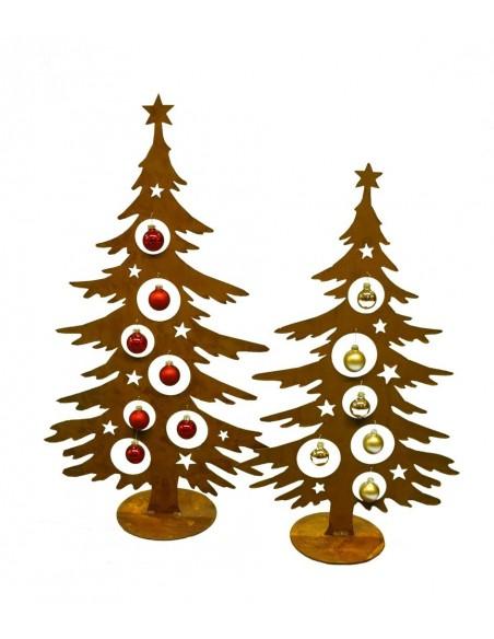 Edelrost Deko Tanne 70 cm hoch für Christbaumkugeln - Weihnachtsbaum aus rostigem Metall