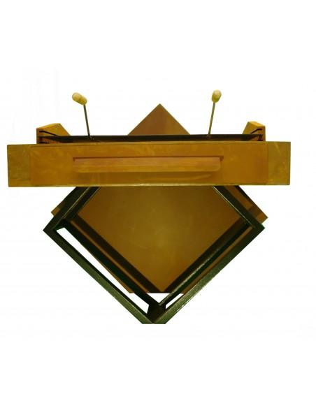 "Grill ""Geometrie"", Rost inkl. Grillrost und schwarz lackierter Holzlege"