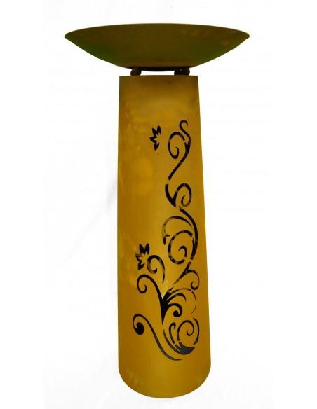"""Säule Kegel """"Ornament"""" 100cm hoch, Rost inkl. Schale"""