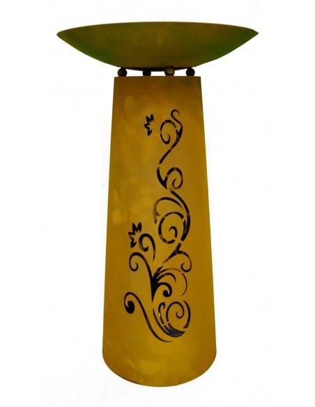 """Säule Kegel """"Ornament"""" 90cm, Rost inkl. Schale"""