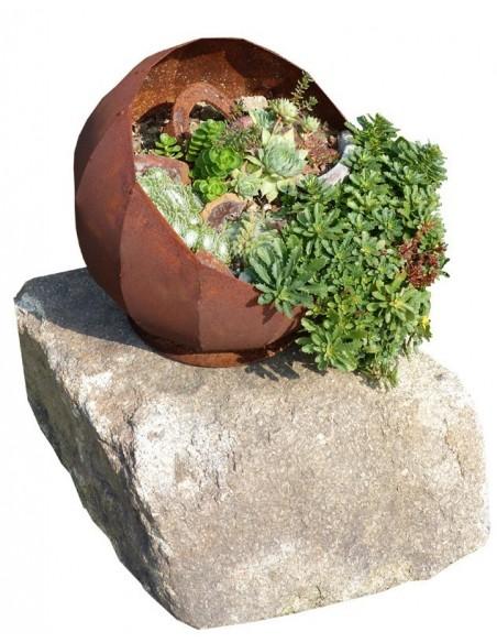Rost Kugel Pedro Ø 30 cm zum bepflanzen - rundes Pflanzgefäß