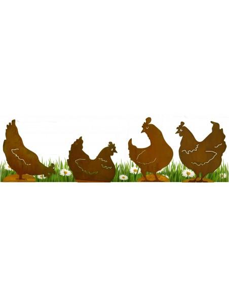 Edelrost Hühner im Set 4 Sk.