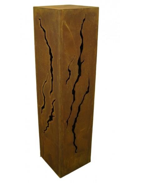 Rost Säule Risse 100 cm hoch rechteckig