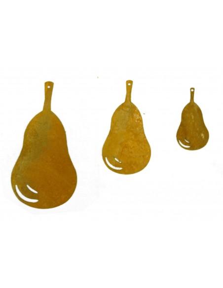 3 tlg Birnenkette - Rost Birnen 12cm / 9cm / 6cm