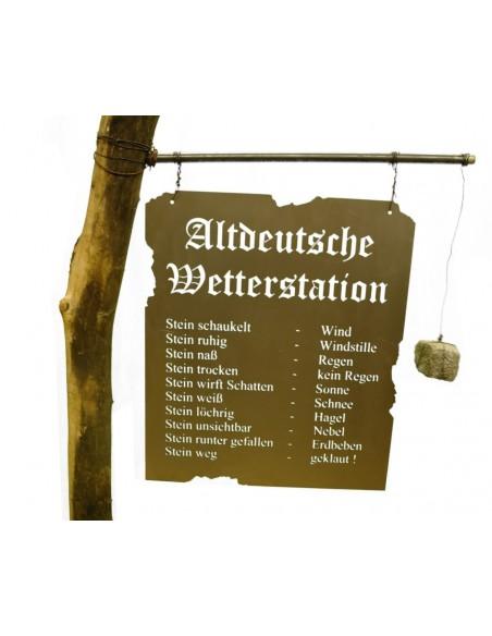 Altdeutsche Wetterstation auf Holzbalken XXL