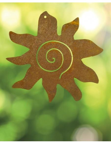 Rostige Sonne Crazy Sun zum Aufhängen 15 cm Durchmesser