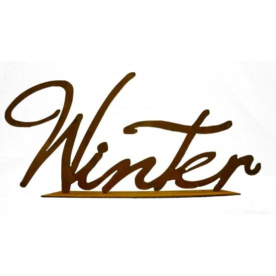 Winter Schriftzug auf Platte Edelrost Buchstabe