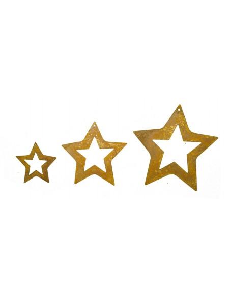 3 tlg. Edelrost Sternenkette ungefädelt Rost Sterne innen offen
