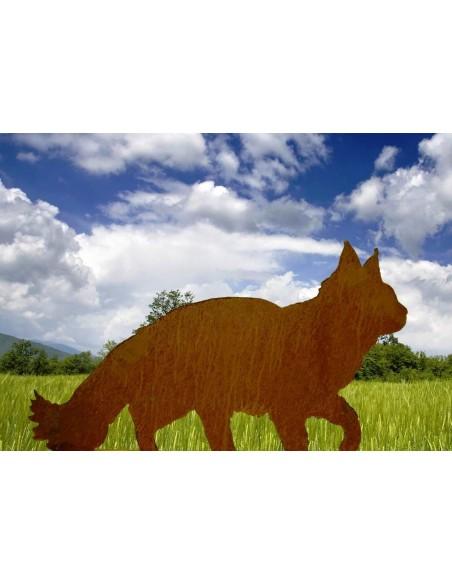 flauschige Maine Coon Katze gehend Deko Edelrost auf Platte