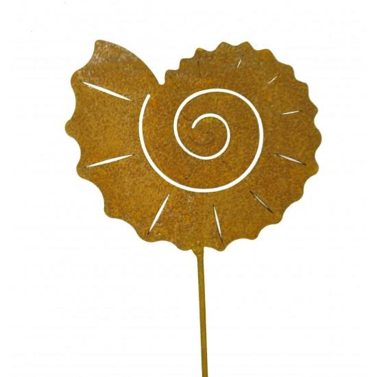 Fossil Gartenstecker Edelrost Ø 12 cm