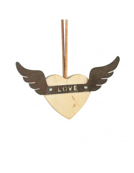 Holzherz mit rostigen Flügeln