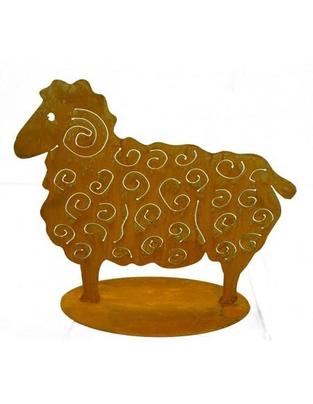 Gartendeko Schaf aus Metall mit Edelrost