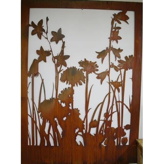 """Rost Sichtschutz Wiesenmotiv mit Blumen """"A"""" Abtrennung aus 3mm Stahl ohne Umrandung"""