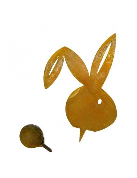 Rost Hase Metallsatz 35 cm Hasenkopf zum Einschlagen in Holz