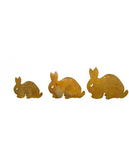 3 tlg. Kaninchenkette geduckt Edelrost Deko Kette