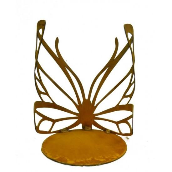 Rost Schmetterling Windlicht klein mit Ausschnitten Edelrost Gartendeko