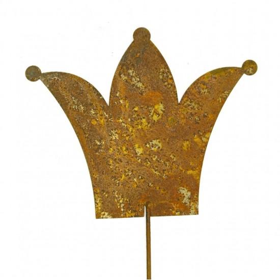 Rost Krone 15 cm auf Stab Gartenstecker Krone