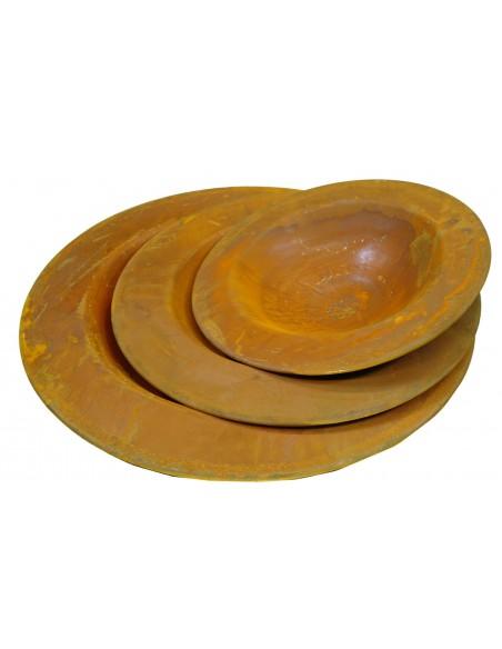 rostige Pflanzschale 70 cm mit Rand 10 cm Edelrostschale