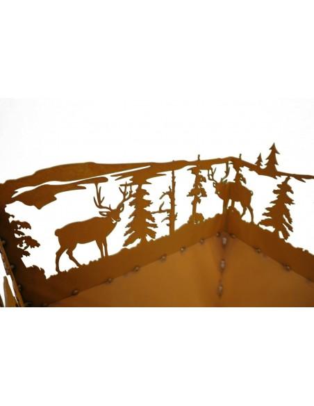 rechteckiger Rost Feuerkorb Wald und Wild Rost Edelrost Feuerschale