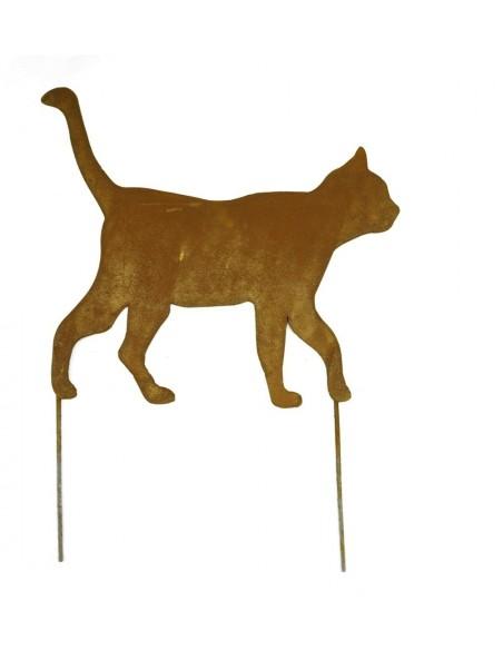 Rost Katze gehend zum Stecken Katzenstecker