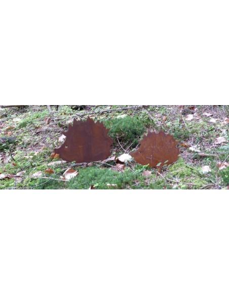 Rost Igel groß mit Erdspieß Beetstecker aus Edelrost