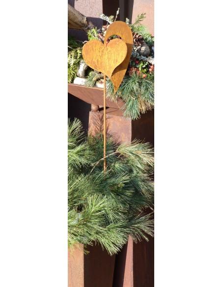 rostiger Gartenstecker Herz Christine 1,2 m hoch
