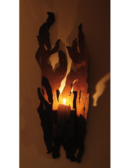 """Rost Kerzenhalter für Wand """"Fackel"""" groß 75 cm für Kerzen"""