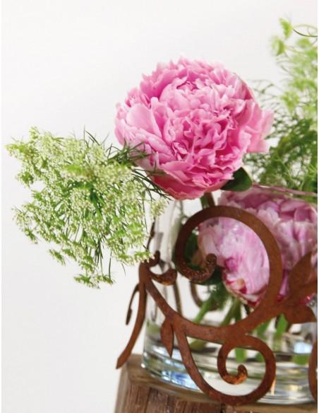 Edelrost Ornamentring für Vasen / Windlicht Ø 15 cm Höhe 13 cm