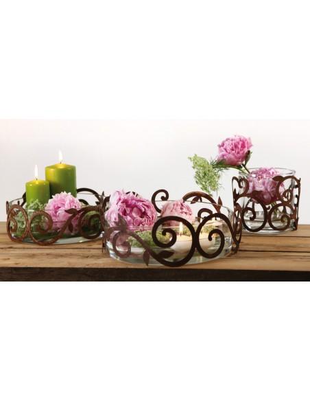 flacher Edelrost Ornamentring 30 cm für Vasen / Windlichter / Schalen