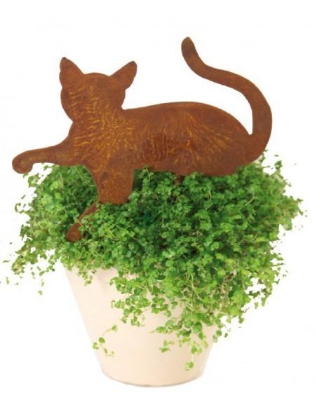 Rost Minikatze liegend Gartenstecker 25 cm lang