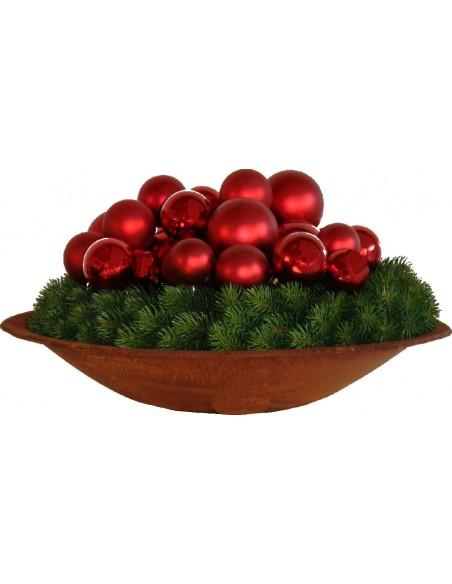 Weihnachtliche Dekoschale in dunklem Rostbraun verschiedene Größen