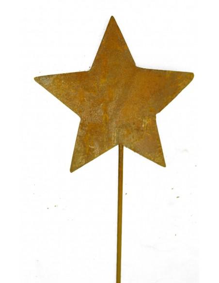 Rostiger Stern Stecker Ø 12 cm  mit kurzem Stab