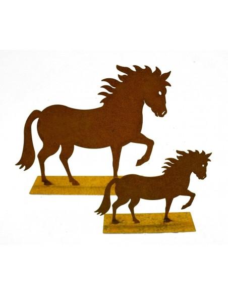"""Mini Edelrost Pferd """"Cavallo"""" auf Platte 15 cm  Rostige Deko"""