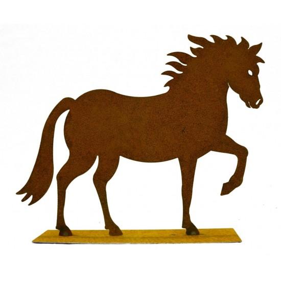 """Edelrost Pferd """"Cavallo"""" auf Platte 25 cm hoch rostige Gartendeko"""