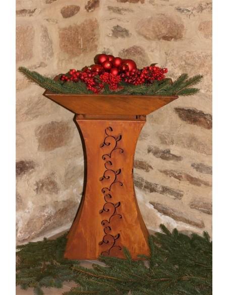 Pflanzsäulen - Säulen mit Pflanz-Schale Set: Säule Strecki mit Schale und Außenbeleuchtung kleine Variante - Set  Gesamthöhe mi