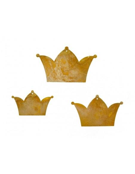 3 tlg. Kronenkette Rost Kronen zum Aufhängen