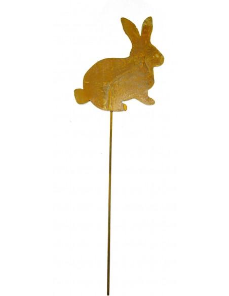 Edelrost Minihase 11 cm auf Stab