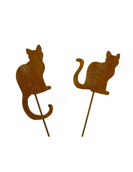 Edelrost Mini Katze Gartenstecker