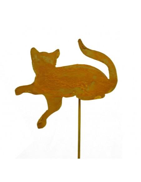 Rostige Katze liegend, Stecker aus Edelrost für den Garten