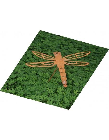 Edelrost Libelle Stecker für Teich und Garten