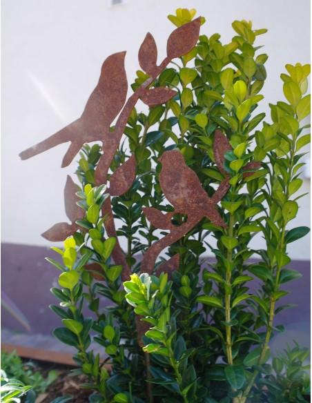 2 Rostiger Vogel auf Ast - Edeltrost Stecker mit kurzem Stab Gesamthöhe 50 cm