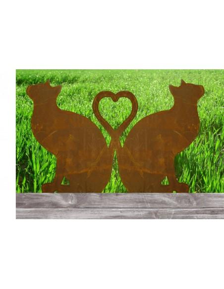 Gartenstecker rostig Katze sitzend - bilden ein Herz