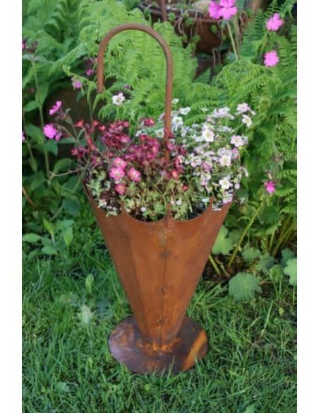 rostiger Schirmständer zum Bepflanzen 30 cm hoch