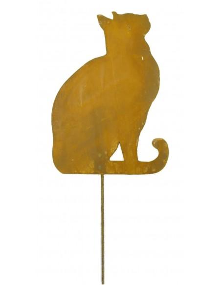 Edelrost Katze 1 nach oben schauend, zum Stecken