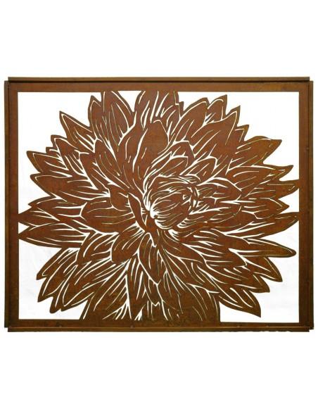 Edelrost Dahlien Paravent 1,50 x 1,20 m als Sichtschutz oder Wandbild