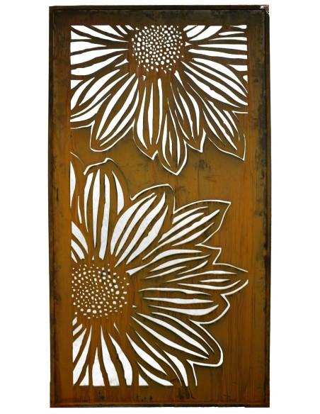 Edelrost Sichtschutz Paravent Blume mit Gerbera Motiv geschlossen 200 cm hoch