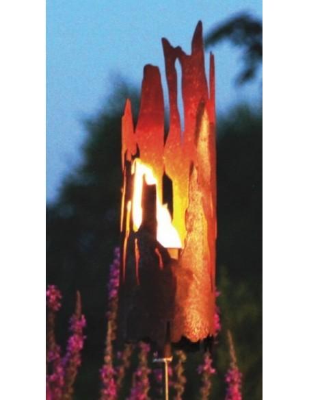 Edelrost Riss Windlicht Treibholz Optik zum Stecken Gartendeko