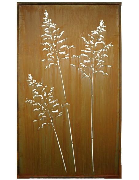 Metall Sichtschutz mit Gras Paravent 100 x 200 cm Trennwand Edelrost