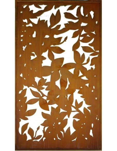 Edelrost Sichtschutz Paravent Blättermotiv Blattwerk Saremo 200 cm hoch oder Quer