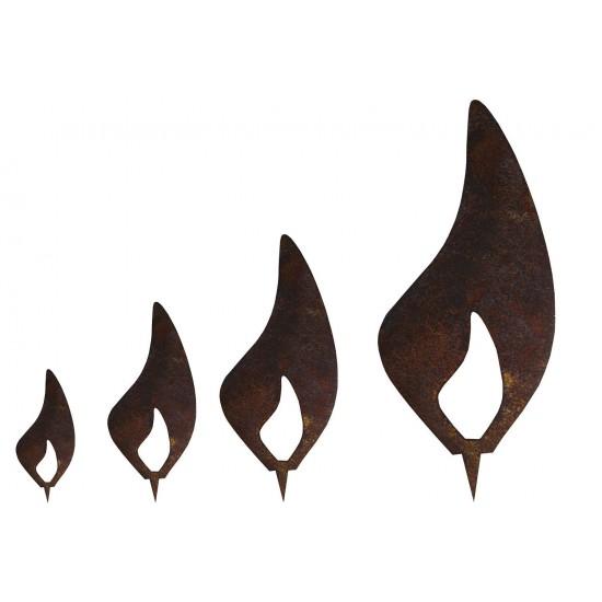 Edelrost Flamme 4er Set - Rost Flammen je 1 x 10 cm, 1 x 15 cm, 1 x 20 cm, 1 x 30 cm